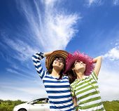 happy young woman enjoy vacation on road trip