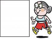 Vektor-Cartoon glücklich Oma jogging