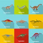 Dinosaur Icons Set. Flat Set Of 9 Dinosaur Vector Icons For Web Isolated On White Background poster