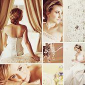 Collage von beautiful blonde Braut mit kurzen Haaren tragen ein weißes satin Brautkleid mit Perlen embr