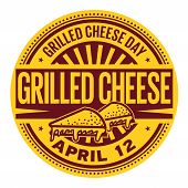 Grilled Cheese Day, April 12, Rubber Stamp, Vector Illustration poster