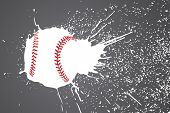 vector illustration (baseball ball with white splashes)