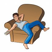 Lazy Guy Watching Tv Pop Art Style Vector Illustration. Human Illustration. Isolated Image On White  poster