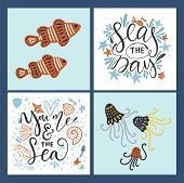 Vector Sea Cards Set With Handdrawn Sea Animals And Ornate Lettering Pieces With A Lot Of Detailed E poster