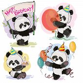 Set Vector Cute Baby Panda Bears In Cardboard Hats, With Cake And Candle, With Happy Birthday Banner poster