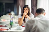 Crying Stressed Woman In Fear,having A Conversation With A Man About Problems.reaction To Negative E poster
