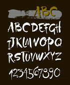 Vector Acrylic Brush Style Hand Drawn Alphabet Font. Calligraphy Alphabet On A White Background. Ink poster