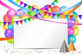 Happy Birthday Design. Border Of Realistic Colorful Helium Balloons, Flags Garlands And White Sheet. poster