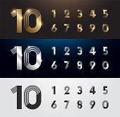 Set Of Metal Number. Vector Silver, Gold And Black Numbers. 1, 2, 3, 4, 5, 6, 7, 8, 9, 10. Alphabet  poster