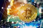 Bitcoin On Electronic Circuit Board. Cryptography And Electronic Money Concept. Currency Trading And poster