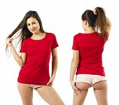 Photo Of A Sexy Young Woman With Short Shorts Wearing A Blank Red Shirt, Front And Back. poster