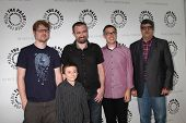 LOS ANGELES - AUG 13:  Justin Roiland, Atticus Shaffer, Maxwell Atoms, Noah Z. Jones, Dana Snyder at the Disney's