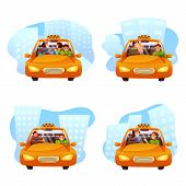 Taxi Ordering Flat Vector Illustrations Set. Nyc Yellow Cab Driver With Passengers Cartoon Character poster