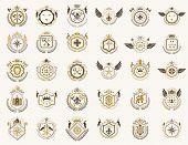 Vintage Heraldic Emblems Vector Big Set, Antique Heraldry Symbolic Badges And Awards Collection, Cla poster