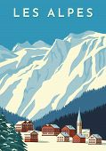 Alps Travel Retro Poster, Vintage Banner. Mountain Village Of Austria, Winter Landscape Of Switzerla poster