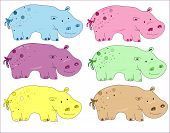 image of behemoth  - behemoth vector Small colorful hippos on a white background - JPG