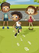 pic of hopscotch  - Kids playing hopscotch in park - JPG