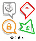 Business icon set. Protection world, closed lock, abstract monetary sign, umbrella.  Paper stickers. Vector illustration.