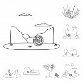 Vector Design Of Wilderness And Texas Icon. Set Of Wilderness And Pasture Vector Icon For Stock. poster