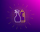 Cleaning Spray And Shampoo Line Icon. Halftone Pattern. Washing Liquid Or Cleanser Symbol. Housekeep poster