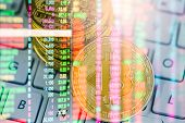 Modern Way Of Exchange. Bitcoin Is Convenient Payment In Global Economy Market. Virtual Digital Curr poster