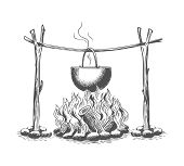 Campfire And Pot. Vintage Fire Camping Cooking In Cauldron On Firewood And Flame Hand Drawn Vector I poster
