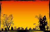 Halloween Night. Pumpkins, Castle, Tree Silhouettes, Grass, Scarecrow, Cemetery On A Sunset Backgrou poster