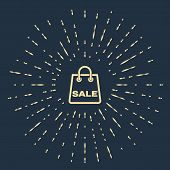 Beige Shoping Bag With An Inscription Sale Icon Isolated On Dark Blue Background. Handbag Sign. Woma poster