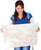 Female explorer holding a map - isolated over a white background