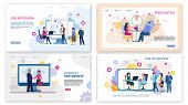 Trendy Flat Landing Page Set For Online Services. Speed Dating For Lonely People, Business Meeting O poster