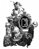 Luxurious Victorian initials letter L, after an engraving by Gustav Dore,