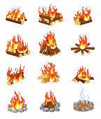 Cartoon Bonfire. Summer Campfires Flame With Firewood. Burning Stacked Wood. Flat Gaming Camping Des poster