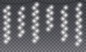 Seamless Light Garlands. Xmas Winter Holidays Vertical Lighting With White Light Bulbs. Christmas Fe poster