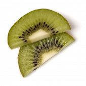 Two kiwi fruit slices isolated on white background closeup. Half of kiwi slice. Kiwifruit slice,  fl poster