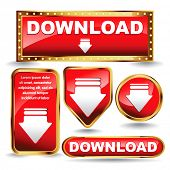 Shiny golden and red download now button collection