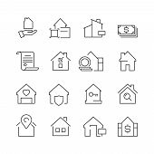Real Estate Icons. Business Marketing Sale Houses Money Ownership Vector Real Estate Pictures Collec poster