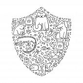 Pet Insurance. Shield With Doodle Pets Inside. Pet Care, Veterinary Banner, Logo, Poster, Concept Fo poster