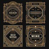 Art Deco Labels. Vintage Alcohol Labels Framed Brands Rum Tequila Drinks Golden Borders Swirl Vector poster