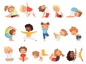 Yoga Kids. Children Making Exercises In Different Poses Healthy Sport Vector Cartoon Characters. Yog poster