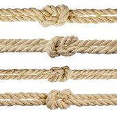cotton ropes with knot isolated on white background