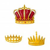 Vector Design Of Monarchy And Gold Icon. Set Of Monarchy And Heraldic Vector Icon For Stock. poster