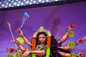 Goddess Durga Idol Decorated At Durga Puja Pandal In Village Of Rural West Bengal The Biggest Religi poster