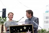 LOS ANGELES - MAY 2:  Jeremy Renner, Scarlett Johansson at the Scarlett Johansson Star Walk of Fame