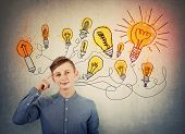 Confident Teenage Boy Pointing Forefinger To Head Showing Where Genius Ideas Come From, And Shining  poster