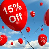 Balloon With 15% Off Showing Sale Discount Of Fifteen Percent