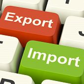 picture of export  - Export And Import Keys Shows International Trade Or Global Commerce - JPG