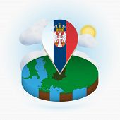 Isometric Round Map Of Serbia And Point Marker With Flag Of Serbia. Cloud And Sun On Background. Iso poster