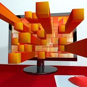 Three Dimensional Orange Squares On Computer Monitor Shows 3d Graphics Software Or Illustration