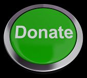 Donate Button In Green Showing Charity And Fundraising