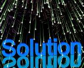 Palavra de solução com fogos de artifício mostra estratégias e conquista de sucesso